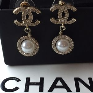 Authentic Chanel Earrings with box and pouch